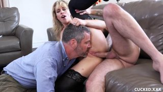 Image: Wife in stocking fucks hard in front of her husband