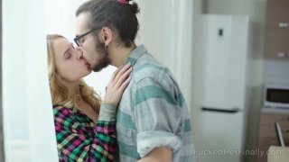 Lovely blond teen is fucked by kinky and nerd dude in glasses image