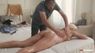 Mouth watering Cuban bitch Luna Star gets her slit nailed on the massage table image