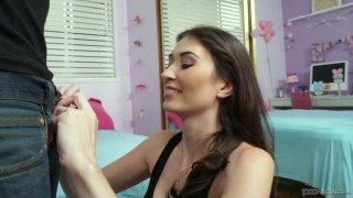 Eye catching babe Angelina Diamanti gives a great yum-yum blowjob and titjob image