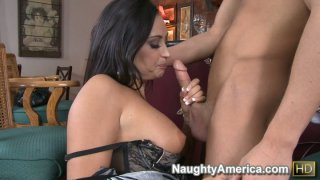 Image: Super hot mature Claudia Valentine gives a blowjob to a bar tender