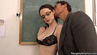 Dirty student Tessa Lane sucks a cock to pass exam image