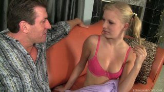 Horny blonde Kyleigh Ann blow dick of Lee Stone when Dylan Ryder sees them on the couch image