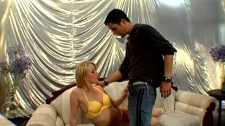 Fanciable blonde Sharon gives deep blowjob and gets her pussy_licked image