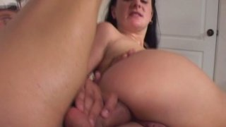 Image: Amateur brunette Renee Pornero has her first time anal penetration