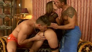 Image: Threesome with touchy blonde slut Debbie White