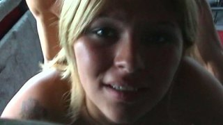 Horny amateur blonde Cristina has one of her first facials image