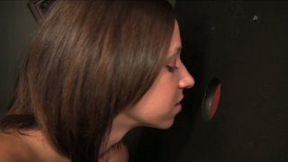 Image: Horny bitch Adrianna Luna sucks Lee Stone's cock through the glory hole