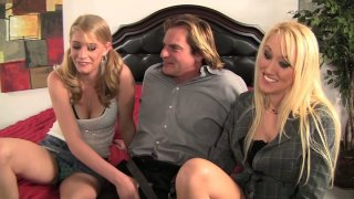 Two kinky whores Alana Evans and Allie James seduce Evan_Stone and give him a head image