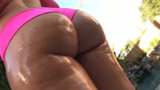Bootyful Briella Bounce exposes her rounded butt and gives a head to Jon Jon image