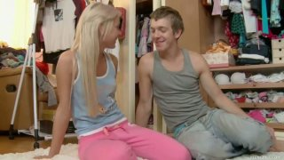 Cute blonde teen babe Ivana fucks Matthew in her bedroom image