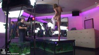 Hot strip dancer Blue Angel behind the scene video image