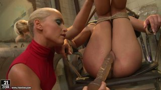 Kathia Nobili pleases_the wet pussy of tied_brunette Bianca Arden image