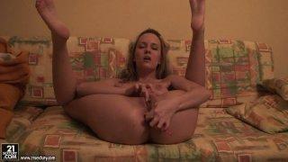 Image: Amateur horny Blue Angel masturbates with dildo on homemade vid