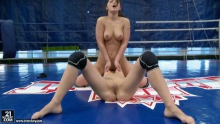 Sporty babes Mellie and Lana S sit on each other faces on the boxing ring image