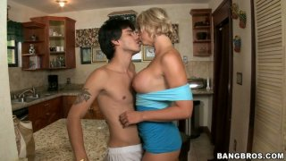 Sultry blonde housewife Brianna Beach gets her muff eaten and blows cock image