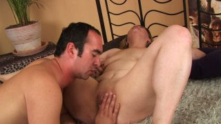 Chubby pale skin mommy Hermina gives blowjob and gets her muff eaten image