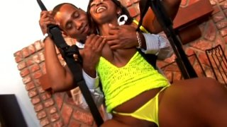Fucking on the swings with ebony BBW chick Delotta Brown image