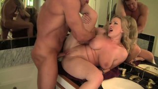 Image: Rather flexible blondie Vicky Vixen gets fucked from behind by Lee Stone