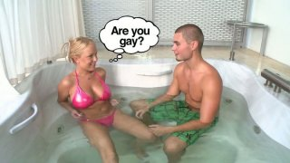 Kinky Jessica Moore seduces a man in jacuzzi for winning a tool image