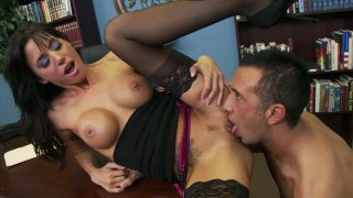 Image: Gia Dimarco gets her mouth fucked on the table