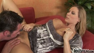 Hypnotizing blonde sex bomb Devon Lee gets her trimmed pussy eaten image