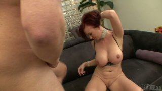Feisty redhead Felony Foreplay sucks dick deepthroat and then gets poked hard from behind image