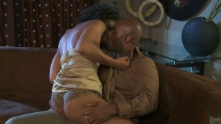 Hot and horny ebony babe Misty Stone opens her legs_for cunnilingus image
