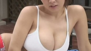 Ugly Japanese student chick Hitomi Tanaka got red undies image