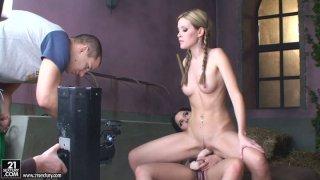 Sophie_Moone_rides_strapon_dildo_on_sexy_brunette_Zafira image