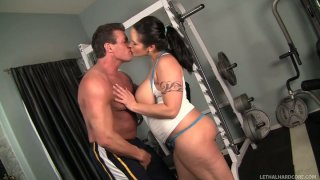 Horny personal trainer Lee Stone seduces Carmella Bing and eats her in a gym image