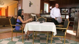 Lascivious Angelina Wild seduces a bartender and sucks his dick right in a bar image