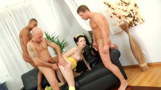 Daring Isabell is fucking in a hardcore gangbang fuck video getting her rose butt abused hard image