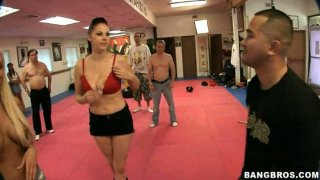 Trashy sluts Gianna Michaels, Jessica Lynn and Nikki Rhodes fuck in a boxing club infront of the public image