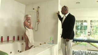 Image: Massage turns into a solid blowjob to a black cock with horny Shane Deisel
