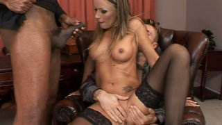 Hardcore anal drilling action in a threesome fuck video starring Vivian image