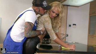 Curly blonde housewife Ivana Sugar seduces black plumber image