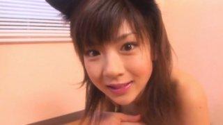 Image: Jap teen Aki Hoshino plays like horny kitty in her bedroom