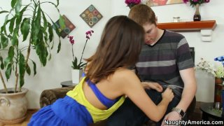 Horny Sara Luv_likes this young guy and wants to give him a blowjob image