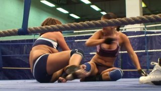 Angry lesbians Rihanna and Samuel Bellina have a wrestling fun image