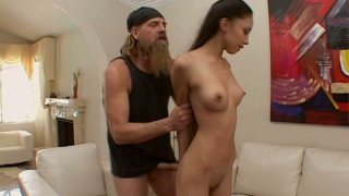 Brutal hairy stud stretches Alexis_Love's tiny mouth thrusting his dick deep in her throat image