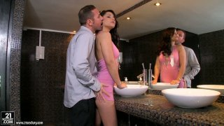 Luxurious brunette cutie Lana S gives awesome blowjob image