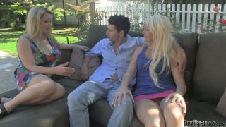 Horny housewife Courtney Taylor and her girl buddy get horny for the neighbor image