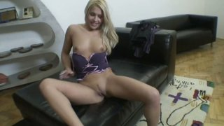 Perky blonde wench Brandy Smile pokes her wet_twat with a fat dildo image