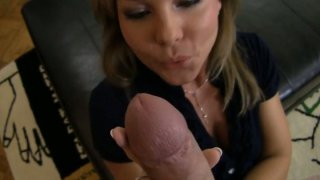 Horny blonde milf Valentina Blue blows dick and then bends over image