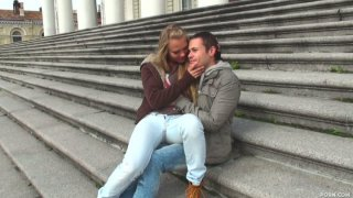 Sweet couple Winter and Arthur walk around the city and then have a passionate oral sex image