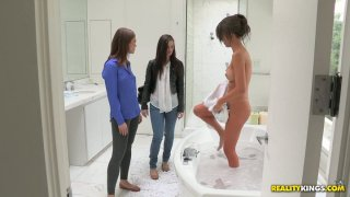The girlfriends of Malena Morgan visit her and finger her pussy image