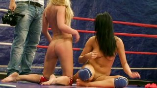 Image: Bailee and her opponent eat pussies on the wrestling ring