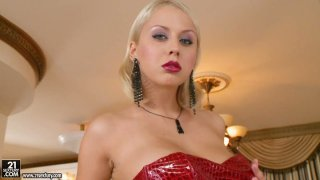 Luxurious blonde babe Mandi Dee squeezes her_big breasts image