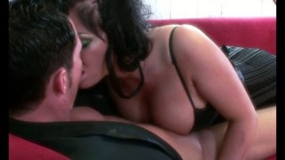 Busty brunette lady Kerry Louise blows cock and fuck on the couch image